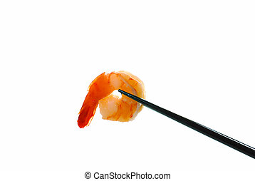 Shrimp on a chop stick Isolated on a white background