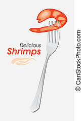 Shrimp on a fork. Vector illustration
