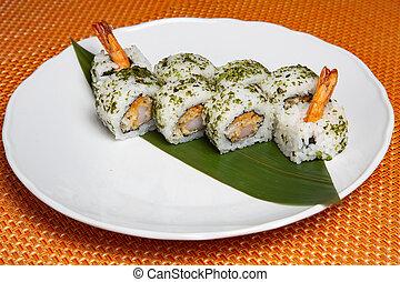 Shrimp or Ebi Japanese sushi roll with kani, tamago and ...