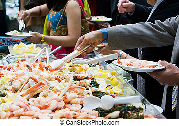 Shrimp Party Platter - Photo of cooked shrimp and crab legs...