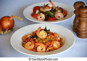 shrimp pasta and shrimp salad
