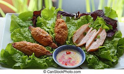 Shrimp Paste on Sugarcan Delicious Vietnamese Dish