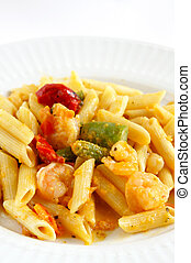 Shrimp Penne Pasta on a white plate