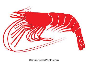 Red boiled shrimp in vector format.
