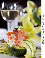 Shrimp salad a la carte appetizer - Closeup detail of a...