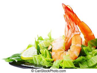 Shrimp salad - Green salad with shrimps, border isolated on ...