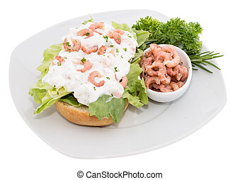 Shrimp-Salad on a roll (plate-version)