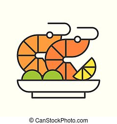shrimp salad or prawn cocktail, seafood, food and gastronomy set, filled outline icon