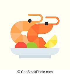 shrimp salad or prawn cocktail, seafood, food and gastronomy set, flat icon