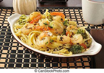 Shrimp scampi and linguini - A bowl of shrimp scampi and...