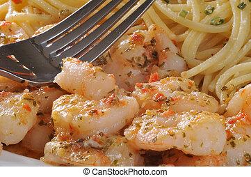 Macro shot of shrimp scampi and pasta