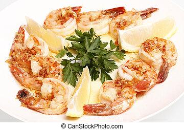 Shrimp Scampi on a plate.