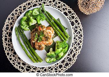 Shrimp Scampi with Asparagus and Broccoli