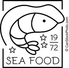 Shrimp sea food logo, outline style