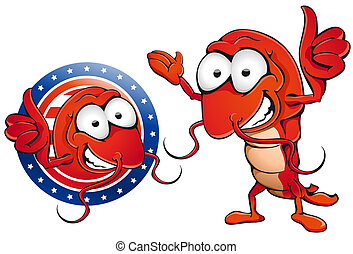 Shrimp showing thumbs up. File includes clipping path.