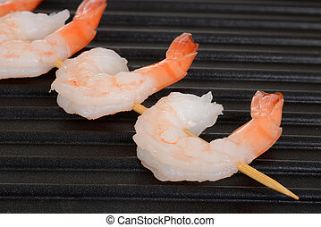 shrimp skewer on grill