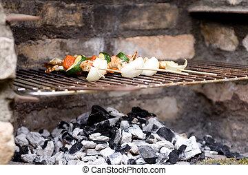 Shrimp skewers on barbeque