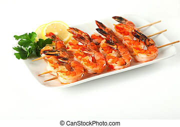 Shrimp skewers with sweet garlic chili sauce on isolated backgro