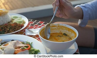 Shrimp soup is a Thai dish with a sour and spicy taste. the...