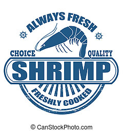 Grunge rubber stamp with the text Shrimp written inside, vector illustration