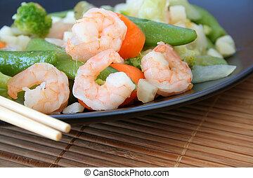 Shrimp Stir Fry - Shrimp and vegetables with a garlic sauce ...