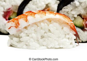 Shrimp sushi closeup on white background