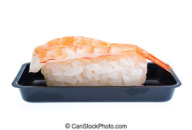 shrimp sushi with plastic container isolated on the white background