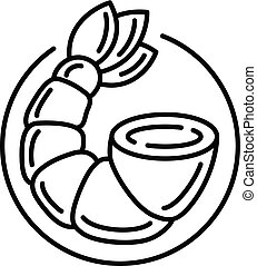 Shrimp tail icon, outline style