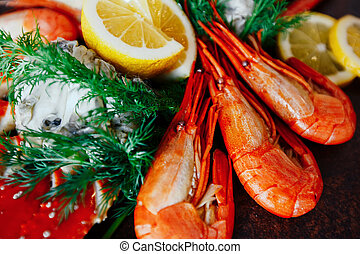 Shrimp with crab meat lemon and greens