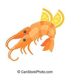 Shrimp with lemon illustration in cartoon style.