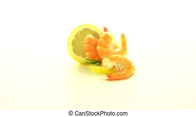 Shrimp with lime - Fresh cooked shrimp with lime prepared to...