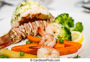 Shrimp with Lobster Tail in Background - Gourmet Dinner of...