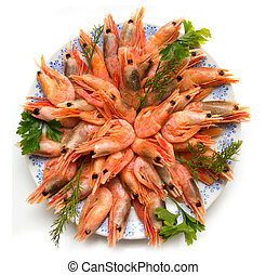 shrimp with parsley on a plate