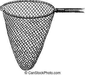 Shrimping Net, vintage engraving - Shrimping Net, vintage...