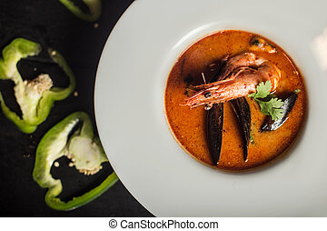 Shrimps and mussels soup. Dish. Seafood