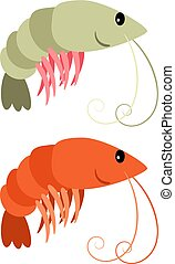 Shrimps cartoon icons set