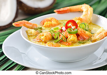 Shrimps soup - Hot coconut prawn soup with chili and curry