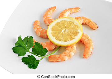 shrimps with lemon closeup