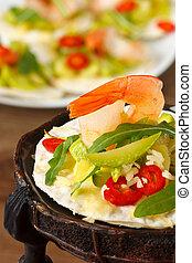 Shrimps with salad. - Tostadas with shrimps and marrow salad...