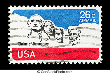 shrine of democracy - mail stamp printed in USA featuring...