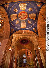Shrine of Immaculate Conception Cathedral Basilica Blue Dome Inside Arches Mosaics