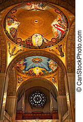 Shrine of Immaculate Conception Cathedral Basilica Dome Inside Arches Mosaics