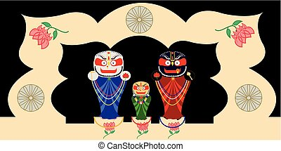 Jagannath, Baladev and Subhadra - Shrine of the Deities of...