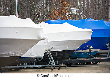 shrink wrap on boats - sailboat and power boat protected...