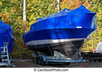 Shrink Wrapped - Power boat shrink wrapped in bright blue.
