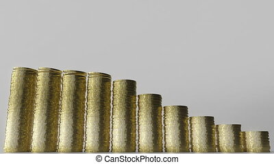 Shrinking bar chart made of coin stacks. Business decline or...