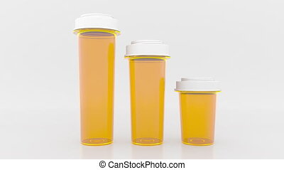 Shrinking bar chart made of pill bottles. Decreasing medical...