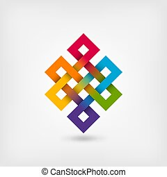 Shrivatsa endless knot in rainbow colors