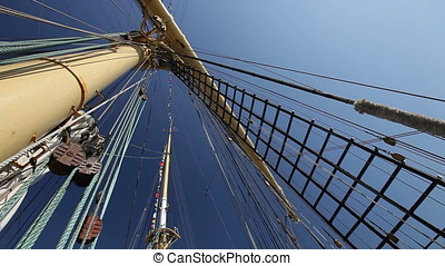 Shrouds and Main Mast - Shrouds and main mast of a tall...