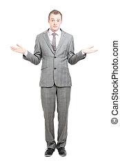A business man shrugging